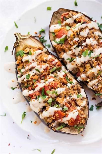 Eggplant Stuffed Quinoa Tahini Sauce Mediterranean Recipes