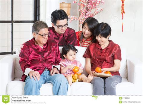 New Celebrate Family Friends Life: Celebrate Chinese New Year With Family Stock Photo