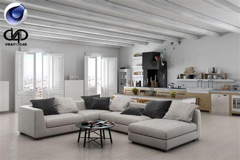 v interior design living room and kitchen c4d vray 3d model c4d cgtrader