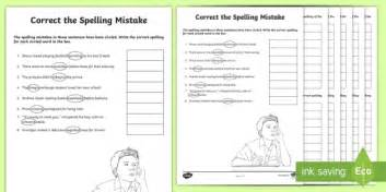 year 5 and 6 correct the spelling mistakes worksheet