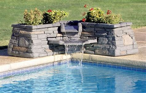 stone waterfall fountain  planter boxes located