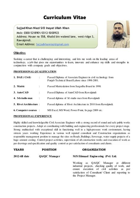 Resume Format For Experienced Civil Engineers Pdf by Cv Site Engineer Civil