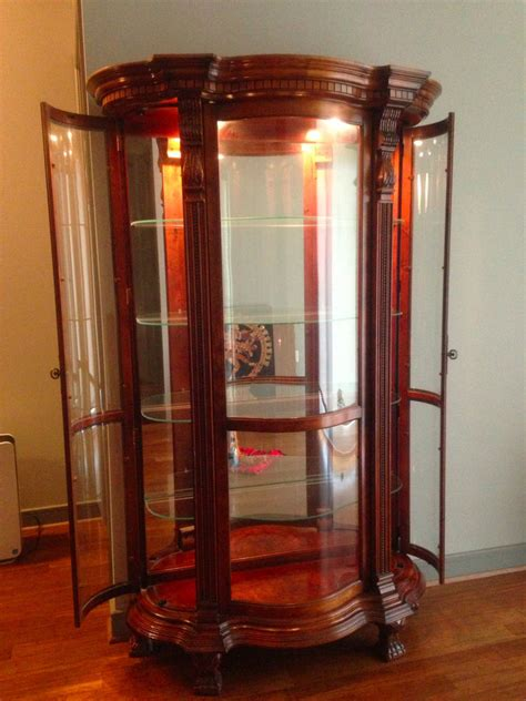 Cherry Wood Curio Cabinet With 4 Glass Shelves Ebay