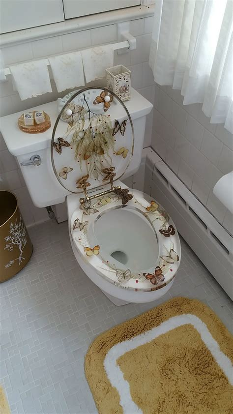 Novelty Bathroom Pictures by This Bathroom Has Transparent Butterfly Toilet Seats In