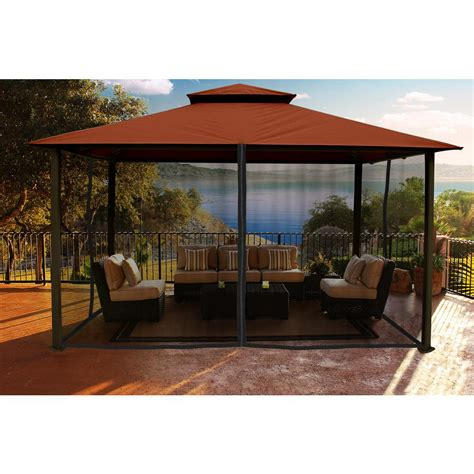 Backyard Gazebos by Paragon Outdoor Gazebo 11 Ft X 14 Ft With Rust Color