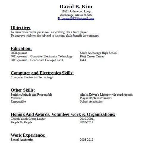 Building A Resume With No Work Experience by How To Make A Resume For With No Experience Sle