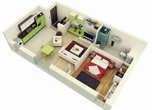 50 plans en 3d dappartement avec 1 chambres plan With plan appartement 3d gratuit