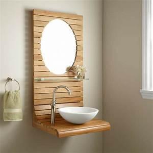 Miroir Rond Salle De Bain : le meuble de salle de bains en teck ~ Nature-et-papiers.com Idées de Décoration