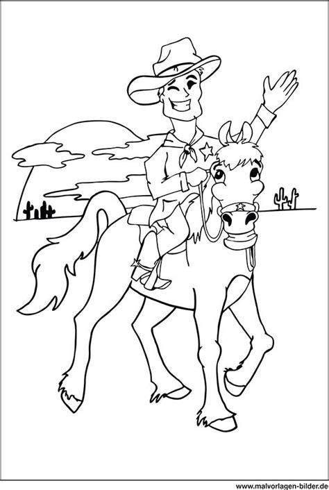 ausmalbild cowboyhut cartoon bild