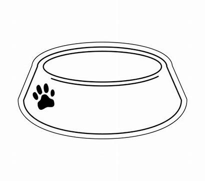 Bowl Dog Clipart Outline Bowls Empty Pages