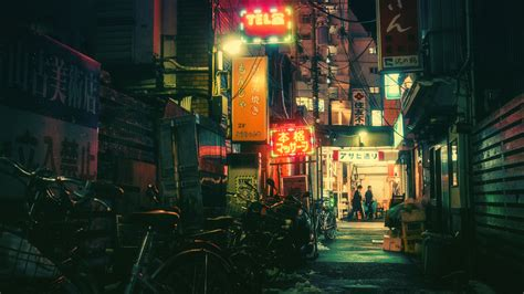 1080p Neon City Wallpaper by Wallpaper City Cityscape Neon Bicycle
