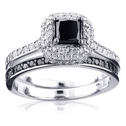unique black engagement rings 10k gold white black unique bridal engagement ring set 1 2ct