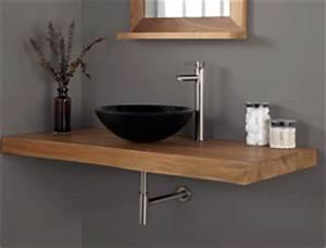 Meubles de salle de bain en teck plan de travail for Plan de travail en bois pour salle de bain