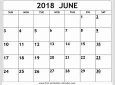 Printable 2018 June Calendar