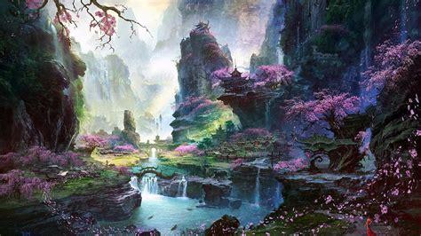 beautiful valley fantasy art hd wallpaper wallpaper