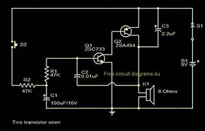 Free Circuit Diagrams 4u  Two Transistor Siren