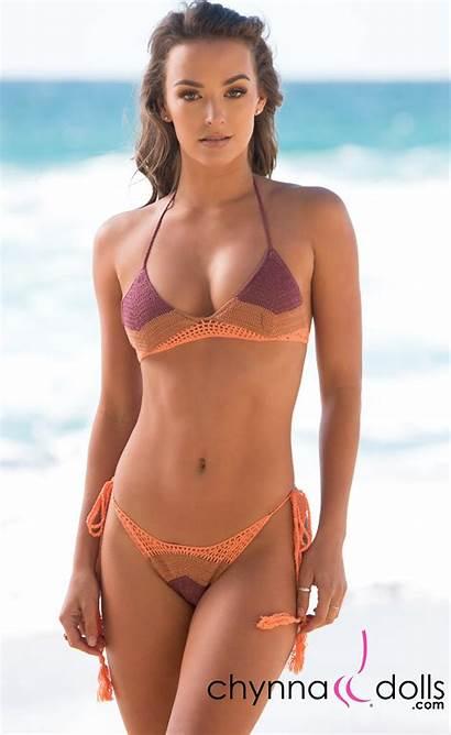 Crochet Bikini Peach Tan Daytona Bikinis Tri