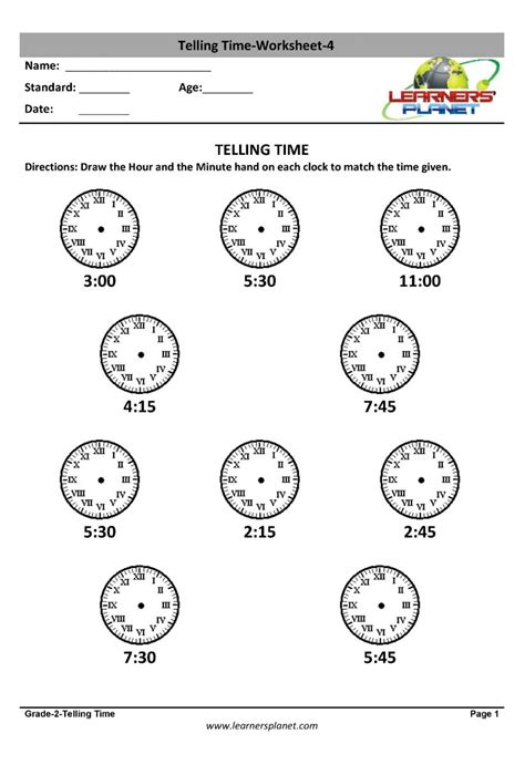 grade  mental math worksheets telling time maths
