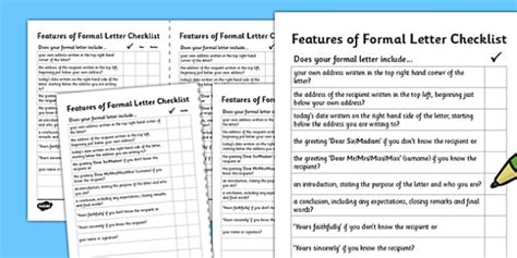 formal letter writing checklist formal letter writing