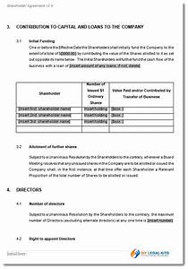 shareholders agreement contract form With shareholder agreements template