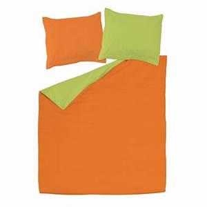 Orange Et Vert 100 Coton Parure De Lit Rversible