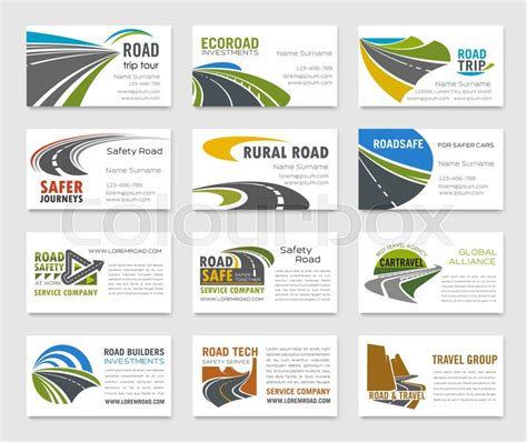 business card template  road stock vector