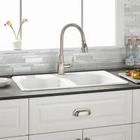"white kitchen sinks 32"" Berwick White Double Bowl Cast Iron Drop-in Kitchen Sink - Kitchen"