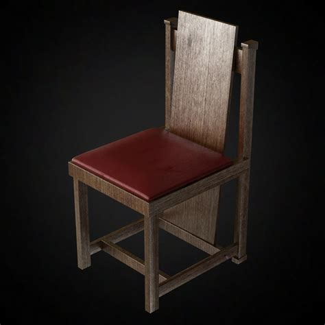 3d side chair by frank lloyd wright high quality 3d models
