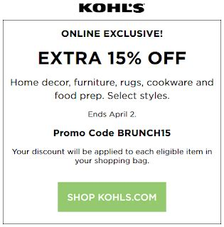 Kohl's Coupon Save 15% Off Home Decor, Furniture, Rugs
