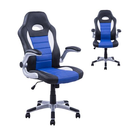 office racing chair homcom pu leather racing office chair black blue white 30573