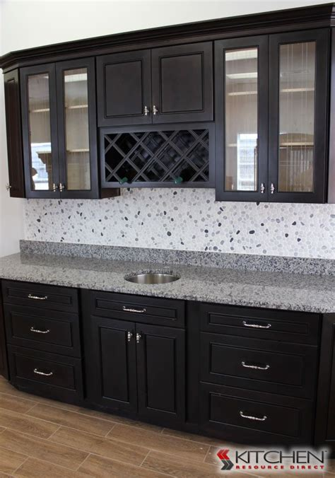 exle of espresso cabinets with grey tile don t
