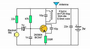 spy circuits With two transistors wireless microphone fm transmitter circuit schematic diagram