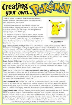 pokemon reading comprehension  activity pack  apple