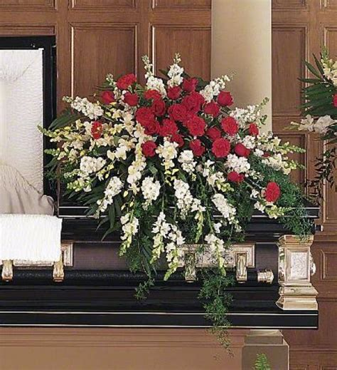 red  white casket spray de young flowers