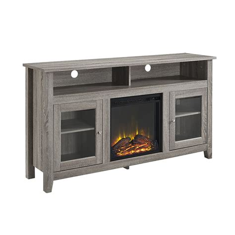 tv stands with fireplaces 58 quot wood highboy fireplace tv stand driftwood