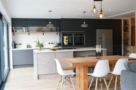 modern kitchen installation in london dark grey matt and concrete effect