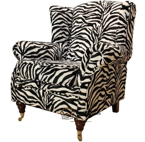 fireside high back wing easy chair armchair zebra