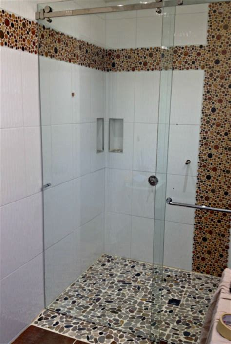 threshold frameless sliding glass shower door