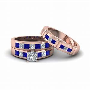 princess cut diamond trio matching ring for him and her With matching trio wedding rings