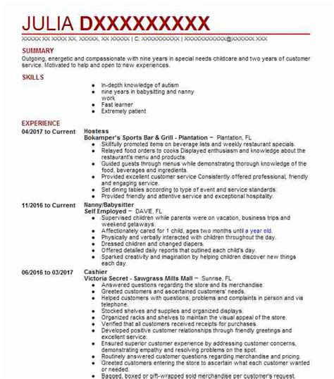 Hostess Resume by Hostess Resume Sle Hostess Resumes Livecareer