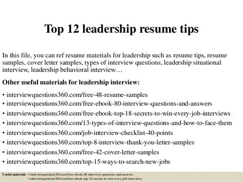 Leadership Skill For Resume by Top 12 Leadership Resume Tips