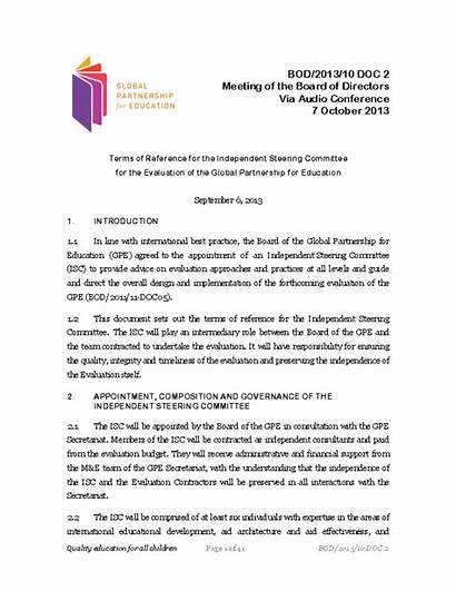 Terms Reference Committee Steering Evaluation Board Documents