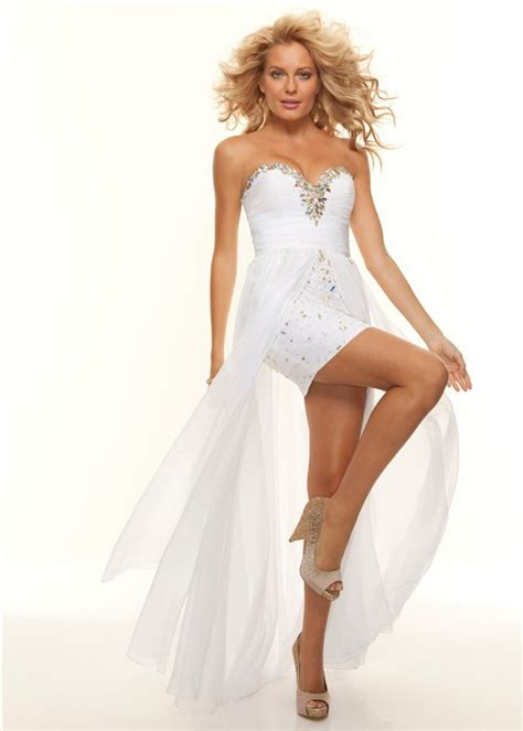 Elegant sweetheart white chiffon beaded high low prom dress