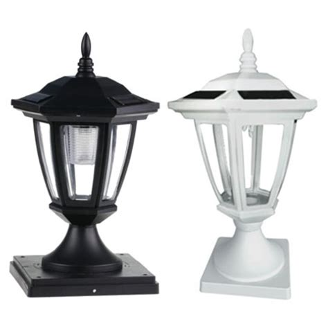 6x6 white carriage style solar post lights set of 2