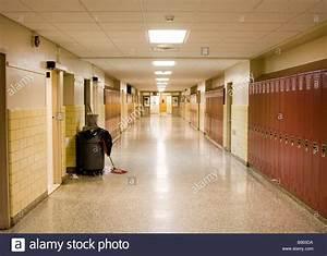 Empty School Hallway with Student Lockers Stock Photo ...