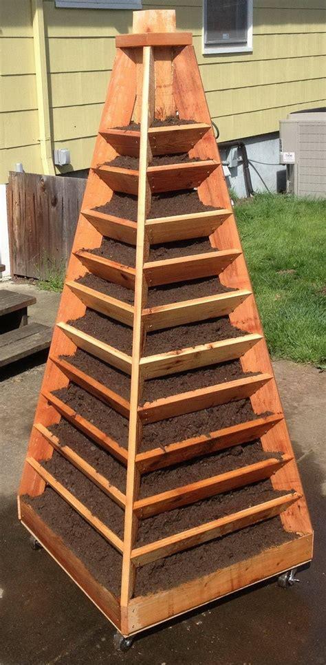 build  vertical garden pyramid tower    diy outdoor project