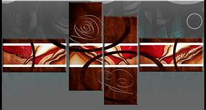 Wall art ideas design brown red abstract sample