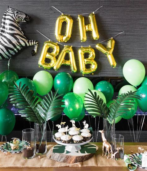 wood dinner table safari baby shower black twine