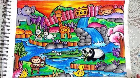 cara menggambar dan mewarnai kebun binatang