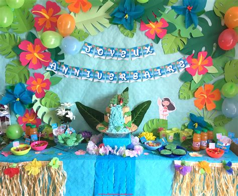anniversaire vaiana deco sweet table  activites